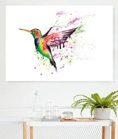 Humming Bird Boxed Canvas by SplatterInkArt on Etsy