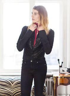 Veronika Heilbrunner, style story, Berlin apartment, Black sequinned Shirt, Roberto Cavalli ; Scarf, Prada ; Jeans, Paige, Sandra Semburg / Garance Doré