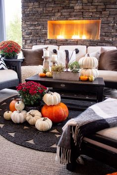 Decorating An Outdoor Space For Fall - Taryn Whiteaker Fall Weather, White Pumpkins, Cool Diy Projects, Autumn Home, Outdoor Spaces, Fall Decor, Life Is Good, Things To Come, Table Decorations