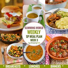 Slimming Challenge Slimming Eats SP Weekly Meal Plan - Week 3 - Slimming World Recipes - taking the work out of planning, so that you can just cook and enjoy the food. Sp Meals Slimming World, Slimming World Breakfast, Slimming World Recipes Syn Free, Slimming Eats, Sliming World, Sw Meals, Healthy Diet Recipes, Snacks Recipes, Free Recipes