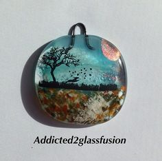 Cremation Sun Catcher with dog ashes fused into glass 2 inch square | addicted2glassfusion - Pets on ArtFire