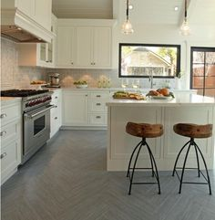 Chevron Floors + Backsplash + Picture Window = To Die For!