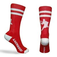 LAX Player Half Cushioned Crew Socks - Red/White