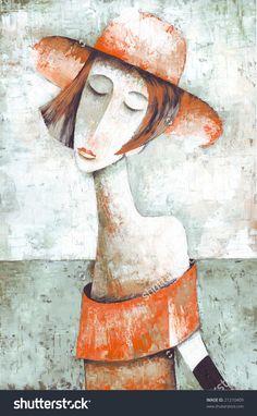 Lady by Eugene Ivanov. #eugeneivanov #elegant #woman #portrait #lady #painting #art #nude #cubism #girl #female #femina #@eugene_1_ivanov