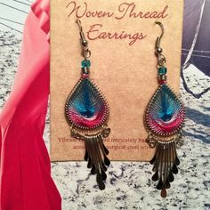 """Woven thread earrings. Price firm. Peruvian handmade, these chandelier earrings are made with colored cotton thread that is delicately woven around twisted alpaca silver wire. Approx 2.5"""" drop. SanYork Jewelry Earrings"""