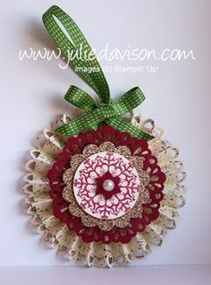 Stampin' Up! ... Christmas ornament by Julie Davidson ... base rosette with loopy scallop border ... layers in red, kraf and white ...  great design ...
