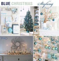 Christmas Inspiration, Christmas Mood Board, Christmas Decor, Styling Ideas, Handmade Decorations, Christmas Ornaments, Christmas Tree, Blue, White, Silver, Winter Styling (2)