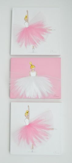 ballerina nursery art kids room ballerina art pink art set of 3 ballerina canvases Kids Crafts Ballerina Kunst, Ballerina Nursery, Rose Nursery, Girl Nursery, Nursery Decor, Nursery Artwork, Room Decor, Baby Decor, Baby Artwork
