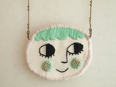RESERVED for KASEY, Smiling face, embroidered necklace