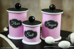 "Make doll sized kitchen canisters. This craft is easy enough for young girls but are very cute. You make sugar, salt and flour canisters for your 18"" Doll."