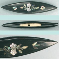 Antique Mother Of Pearl & Silver Inlaid Horn Tatting Shuttle; Circa 1870