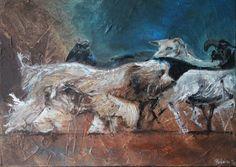 Griotte,un Berger de Brie conduisant un troupeau ! Technique mixte sur toile 3D 50X70 cm briard,painting,art,animalier,peinture,acrylique