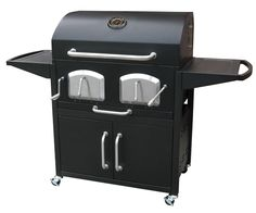 Landmann Smoky Mountain Bravo Premium Charcoal Grill with Offset Smoker Box, Dual Charcoal Grates, Porcelain Cast Iron Grates and Storage Cabinet in Black 591320 at appliancesconnection.com. The BRAVO Premium Barbecue Grill with offset smoker box is made from heavy-duty steel and provides 1,048 sq in of cooking space on heavy-duty porcelain cast iron cooking grates. #grills #fancy #topgrills #musthave #topoftheclass #black