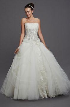 Pnina Tornai Princess/Ball Gown Wedding Dress with Strapless Neckline and Dropped Waist Waistline