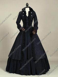 High Quality Victorian Edwardian Penny Dreadful Vampire Steampunk High Collar Coat Dress Halloween Costume