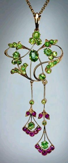 Demantoid jewelry - Art Nouveau demantoid necklace