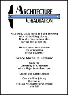 Choose from largest selection of architectural graduation announcements and architect graduate invitations with t-square designs for architecture school grads at GraduationsCardsShop.com with lots of wording samples at http://www.graduationcardsshop.com/architect-architecture-architectural-graduation-wording.htm