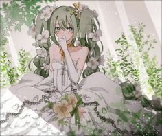 Hatsune Miku as a bride! Hatsune Miku Vocaloid, Kagamine Rin And Len, Anime Kunst, Anime Art, Mikuo, Anime Angel, Beautiful Anime Girl, Anime Comics, Cute Art