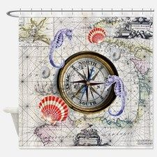 Vintage Compass Nautical Shower Curtain for