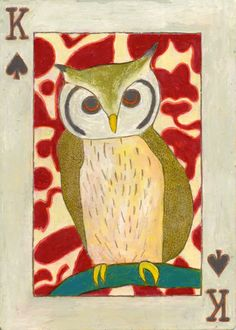 King of Spades (Owl Design) King Of Spades, Deck Of Cards, Playing Cards, Owl, Painting, Design, Playing Card Games, Owls, Painting Art