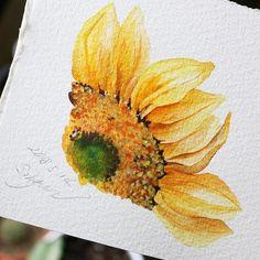- 스노우베리🌸🎥 - ❗️Copyright ⓒ veryhyun. all rights reserved. Watercolor Sunflower, Watercolor Flowers, Watercolour Tutorials, Watercolour Painting, Happy Flowers, Plant Art, Flower Oil, Pastel, Drawings
