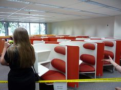 Round carrels, built-in seating Library Furniture, Dream Library, Built In Seating, Library Design, Sound Proofing, Study, Fancy, Desks, Compass