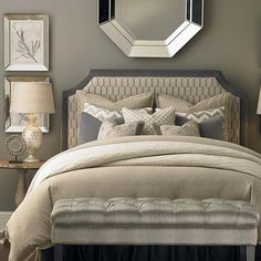 HGTV Home® Custom Upholstered Florence Clipped Corner Headboard by Bassett Furniture features a boldly elegant bedroom style. Corner Headboard, Queen Size Headboard, Beautiful Houses Interior, Beautiful Bedrooms, Bed In Corner, Headboards For Beds, Fabric Headboards, Upholstered Beds, My New Room