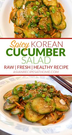 Spicy Korean Cucumber Salad - This fresh, simple and delicious spicy Korean cucu. - Spicy Korean Cucumber Salad – This fresh, simple and delicious spicy Korean cucumber salad is so - Healthy Korean Recipes, Vegan Korean Food, Spicy Recipes, Vegan Recipes Easy, Veggie Recipes, Asian Recipes, Cooking Recipes, Gluten Free Korean Recipes, Asian Desserts