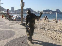 Statue of Dorival Caymmi on Copacabana's calçadão [large sidewalk]. #Copacabana #RiodeJaneiro
