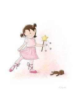 Children's Wall Art Print - Kids Decor - Wall Art Illustration - Girl's nursery - Ballerina - 8 x 10