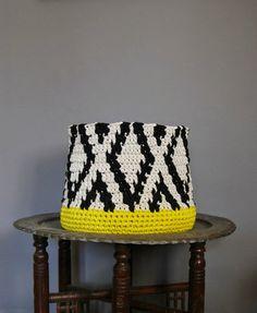 Big Crochet Basket Black Ikat pattern on Stone background with lemon lime basis T-shirt Yarn Basket Zpagetti Basket