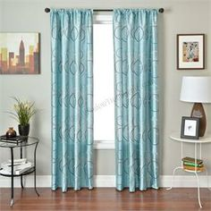 Strada Sphere Drapery Curtain Panel In Spa Blue With Geometric Circle Modern Window Treatments Pattern Pastel Turquoise Color 108 Inch Curtains Or