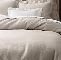 Vintage-Washed Belgian Linen Duvet Cover. Simple and rustic for the master bedroom,  Great with pony hair pillows or ottoman