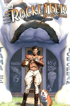The late Dave Stevens depicted as his greatest creation, The Rocketeer, by artist Alex Ross