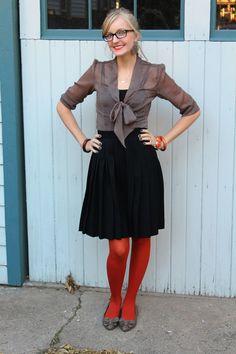 pumpkin tights pleats thrifted Fall outfit 1 Pumpkin Spice