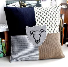 Whippet - Greyhound Print Patchwork Cushion via Etsy