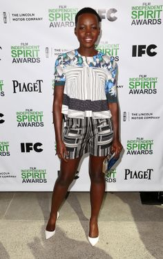 A silky top and shorts worked for the Spirit Awards Nominees Brunch. She finished off the look with white Sophia Webster pumps and a simple clutch.