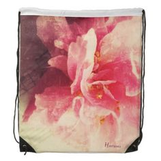 Camellia flower with music cinch bags #drawstring bag, #floral, #pink, #customizable
