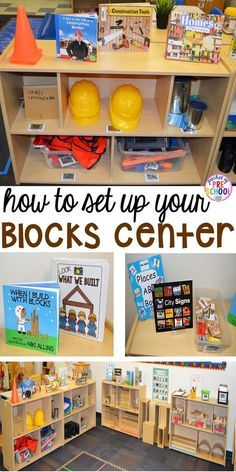 How to set up the blocks center in your early childhood classroom (with ideas, tips, and book list) plus block center freebies del aula de la sala de la escuela en casa Block Center Preschool, Preschool Centers, Preschool Set Up, Preschool Shapes, Preschool Sign In Ideas, Learning Centers Kindergarten, Preschool Reading Area, Classroom Reading Area, Kindergarten Music