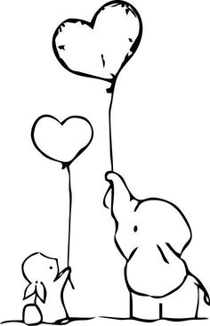 Bunny and Elephant hold heart shaped ballons Wall Decal / Sticker Cool Art Drawings, Easy Drawings, Wall Drawing, Henna Elephant, Elephant Tattoos, Bunny Tattoos, Crow Tattoos, Phoenix Tattoos, Wall Decor Stickers