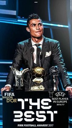 Cristiano Ronaldo The Best Footballer - Cristiano Ronaldo with awards for the Best Footballer in the World and Europe - Cristiano Ronaldo Cr7, Cr7 Messi, Cristiano Ronaldo Portugal, Cristino Ronaldo, Cristiano Ronaldo Wallpapers, Lionel Messi, Neymar, Real Madrid Team, Ronaldo Real Madrid