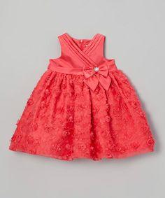 Loving this Dark Orange Rosette Surplice Dress - Infant & Toddler on #zulily! #zulilyfinds