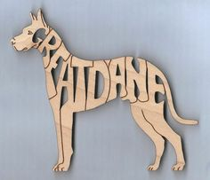 Great Dane Dog wood laser cut and engraved magnet Free Shipping