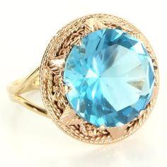 Vintage 14 Karat Rose Yellow Gold Blue Topaz Cocktail Ring Fine Estate Jewelry 6 $559