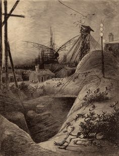 HENRIQUE ALVIM CORRÊA (Brazilian, 1876-1910) Wrecked London, from The War of the Worlds, Belgium edition, 1906 Pencil, ink and charcoal on paperboard laid on cardstock