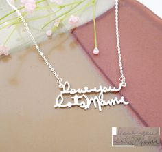 20% OFF  FREE SHIP  Handwriting Necklace  by AngelicaMinimalist
