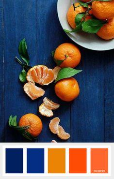 Shades of orange and ultralmarine blue color inspiration summer blue color in mandarin - Blue Things Orange Color Schemes, Orange Color Palettes, Color Schemes Colour Palettes, Blue Colour Palette, Color Palate, Orange Palette, Color Blue, Blue Green, Living Room Orange