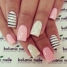 Classic Look for your nails. Pretty Soft Pink plus Black and White. with Glitter