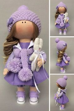 Handmade doll Soft doll Textile doll Fabric doll Violet doll Baby doll Cloth doll Tilda doll Rag doll Interior doll Art doll by Irina E Sewing Dolls, Waldorf Dolls, Soft Dolls, Fabric Dolls, Crochet Dolls, Doll Patterns, Beautiful Dolls, Baby Dolls, Doll Toys