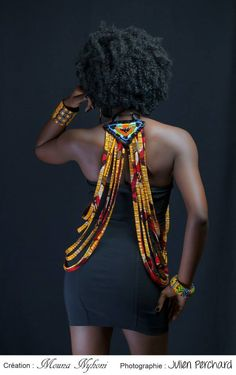 cewax.fr aime ce collier multi rang en tissu africain wax style ethnique afro tendance tribale Mounia Nyhoni rouge et jaune